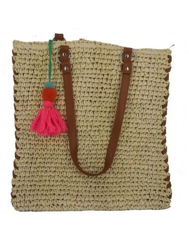 Τσάντα ψάθινη σε δύο χρώματα 201606